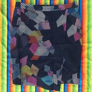 Trina Turk Abstract Grid Textured Midi Wrap Skirt